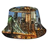 Henry Anthony Gorra de Pescador Unisex, Nueva York en la Noche con los Rascacielos del Puente de Brooklyn Famous Metropolis Manhattan USA, Travel Beach Hat