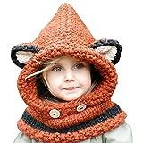 Sunroyal Caliente Invierno Coif con Capucha Bufanda Sombreros Hat Earflap Fox Tejidos de Lana Chales Cap Gorras para Bebé Niñas Niños Muchachos Muchachas (Naranja)