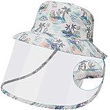 Maylisacc Sombrero para el Sol de Algodón, Sombrero Pescador Niños Verano Ajustable, Sombrero con Pantalla Protectora Plegable Ligera Protección UV, Blanco
