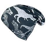 Wollhuhn 20203099 Super Dino - Gorro de lana para niño (reversible, para todo el año, tejido ecológico), color gris Super Dino negro/gris. Large