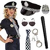 SPECOOL Disfraz de Policía de 6 Piezas para Fiesta de Disfraces con Gorro de Policía, Insignia, Corbata, Esposas de Juguete, Bastón de Plástico, Gafas Negras para Hombres o Mujeres