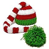xiaoxioaguo Bebé Tejer Cola Larga Navidad Recién Nacido Foto Rojo Blanco Rayas Crochet Bebé Sombrero Verde