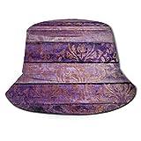 Chic Faux Impreso Purple Wood Faux Gold Damask Sombrero de Pescador Top Plano Sombreros de Cubo Transpirables Unisex Moda Sombrero para el Sol Verano