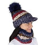 CityComfort Gorras Invierno Mujer Bufanda Invierno Calentador de Cuello Accesorios de Ski Niña Mujeres (Marina A142)