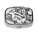 Caja de píldoras – Personalizado Girl Tiger Ornamento Animales Celta, Portátil Rectangular Metal Plata Pastillas Caso Compacto 2 Espacios, Pastilleros para Viajes/Bolsillo/Monedero