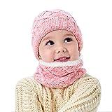 LYworld Set de Bufanda y Gorro Niños Niñas Unisex Conjuntos Beanie Sombrero de Punto Cuello Bufanda de Punto Cálido de 2 Piezas Tejida Beanie 3-10 años (Rosa)