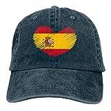 Gorra de béisbol para Hombres y Mujeres, Bandera de España en Forma de corazón Sombrero de Gorra de Mezclilla Ajustable de algodón para Mujer