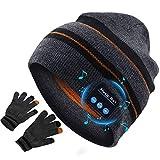 Gorro Bluetooth V5.0 Lavable Gorro con Bluetooth, Cálido y Suave Gorro de Invierno con Música y Auriculares Inalámbricos Estéreo HD para Deportes al Aire Libre, Hombres Mujer Regalos Tecnologicos