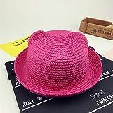 mlpnko Sombrero de Paja Infantil de Dibujos Animados Sombrero de Hombre y Mujer Salvaje Visera Rosa roja 52cm