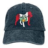 KLING Hombres y Mujeres Jeans Ajustables Gorras de béisbol Gorra de Hiphop Bulldog con Bandera de Perú