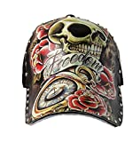 Hombres Chicos Modernos Pintado Remache Cráneo Vistoso Gorra de Beisbol Gorra Hip Hop Sombrero Visera