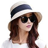 Comhats Sombrero de Verano de Paja con sombrilla para Mujer Sombrero de Sol Suelto de Playa de ala Ancha Beigemix M