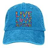 Gorra de béisbol Unisex Sombrero de Mezclilla de algodón Live Love Autism Ajustable Snapback Peak Cap Net Red 3631