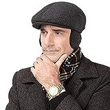 SFGHOUSE Gorra plana de tweed para hombre de estilo tradicional Gatsby Newsboy, gorra de conducción con orejeras ajustables