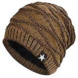Hombres Cozy Invierno Gorra de Punto tartán Beanie Universal Cálido de Punto de esquí Beanie Hat cráneo Slouchy Gorra Sombrero (Caqui)