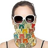 XCNGG Osos cubierta Bandanas para Mujeres Hombres Cuello Polaina Mitad Multifuncional Headwear para el Polvo al aire libre Deportes Bufanda Negro
