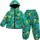 LZH Impermeable Chubasquero para Niño o Niñas, Dinosaurio Capa de Lluvia de Dibujos Animados con Capucha Chaqueta Pantalones Traje