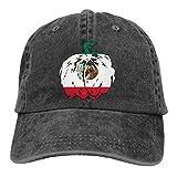 Strawberryran México Calabaza Bandera de Halloween Mujeres Gorra de béisbol de mezclilla de algodón ajustable para hombres Gorra de camionero
