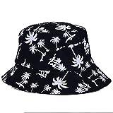 Betrothales Sombrero De Pesca Hombres Mujeres Casual Chic Graffiti Sombrero De Cubo Plano con Patrón De Árbol De Coco Sombrero para El Sol Sombrero De Protección Solar Al Aire Libre Slouch Hat