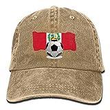 LLZQJ-DAA Balón de fútbol con Bandera de Perú Gorra de béisbol Unisex Gorra de Hiphop Ajustable de Mezclilla de algodón para Hombres o Mujeres
