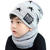 UMIPUBO Conjunto de Bufanda y Gorro Invierno de Punto para niños Forro Polar de Lana Beanie Hat Sombrero Cuello Caliente Bebe Ninos Ninas