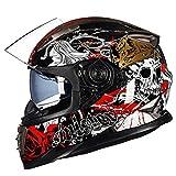 Casco de Moto de protección Completa para Adultos Casco de Moto de Lente Doble Casco con Visera Parasol Interior Motocross Racing Gorras de protección de Seguridad Invierno térmico