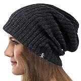 Mujeres Slouchy Gorro Tejer Boina Ribbed Holgado Casquete Invierno Verano Sombrero (Sólido Gris)