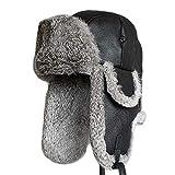 MCSZG nuevos Hombres Mujeres Cordero Oveja Cuero Conejo Ruso Sombrero de Piel papá Sombreros Invierno Piel soviética Ushanka trampero Sombrero para Hombres