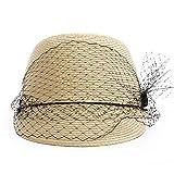 W.Z.H.H.H Sombrero Visera de Mujer Tocando Sombrero de Paja de Pato. Sombrero de Ocio. Gorras de Moda (Color : Natural, Size : M)