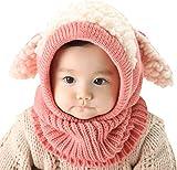 Invierno del bebé Niños Chicas Chicos Tejido Gorro Punto Caliente Lana Cofia Capucha Bufanda Caps Sombreros (Rosada)