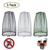 GCOA 3 Piezas Mosquitera de Cabeza Cubierta,Antimosquitos Cabeza Net, Protección Facial para Viajes, Camping, Pesca, Actividades al Aire Libre + Llevar Bolsas(Negro, Gris, Verde ejército)