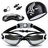 Gafas de Natación, Antiniebla Protección UV Sin Fugas Gafas Natación con Libre Clip de Nariz Enchufe de oído Gorro de baño para Hombres Mujeres Adultos Niños de la Juventud (Negro)