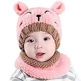 Kfnire bebé Sombrero y Bufandas, otoño Invierno niños niñas Lana Punto Gorras y Bufanda Conjunto (Rosa)