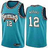 LCY Hombres Jersey Baloncesto - NBA Jersey Grizzlies ° 12 Mangas Transpirable Morant Fitness Deportivo Camisetas Aficionados Uniforme de Baloncesto,S(170CM/50~65Kg)