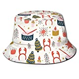 Navidad con Juguetes Sombrero de Pescador Sombrero de Copa Transpirable de Tapa Plana Sombrero de Sol de Moda Unisex Verano