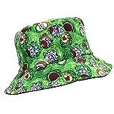 HOUADDY Sombrero de Pescador de Hip Hop, Sombreros de Cubo Reversibles de Panamá para Hombres, Gorra Plana de Anime Rick y Morty, Sombrero de Pesca con Estampado de Dibujos Animados