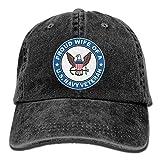 Hoswee Hombres Mujer Gorra Beisbol,Snapback Sombreros US Navy Veteran Proud Wife Plain Adjustable Cowboy Cap Denim Hat for Women and Men