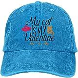 12345678 Gorra De Algodón De Mezclilla De Béisboll My Cat Hat es My Valentine Sombrero Ajustable de Seis Paneles Trucker Dad, OneSize, Azul