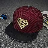 Gbksmm Sombrero Plano De Diamante Street Superman Hip Hop Sombreros Gorra De Skate Moda Hip Hop Snapback Gorras-Vino Rojo