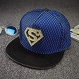 Gbksmm Sombrero Plano De Diamante Street Superman Hip Hop Sombreros Gorra De Skate Moda Hip Hop Snapback Gorras-Azul