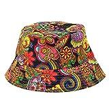 Lumanuby - Sombrero de algodón con diseño de hojas de flores o graffiti, para hombre y mujer, gorra plana para vacaciones de verano, playa, talla 58-60 cm (flor de bohemio)