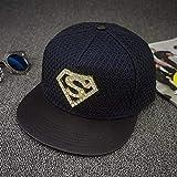 Gbksmm Sombrero Plano De Diamante Street Superman Hip Hop Sombreros Gorra De Skate Moda Hip Hop Snapback Gorras-Azul Marino
