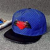 LSJYF Gorra de Beisbol Sombrero De Red Plana Superman Metal Hierro Sombreros Estándar Hombres Y Mujeres Gradiente S Iron Hip Hop Gorra De Béisbol Gorras De ModaAzul