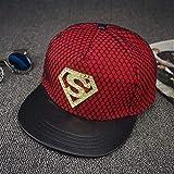Gbksmm Sombrero Plano De Diamante Street Superman Hip Hop Sombreros Gorra De Skate Moda Hip Hop Snapback Gorras-Rojo