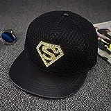Gbksmm Sombrero Plano De Diamante Street Superman Hip Hop Sombreros Gorra De Skate Moda Hip Hop Snapback Gorras-Negro